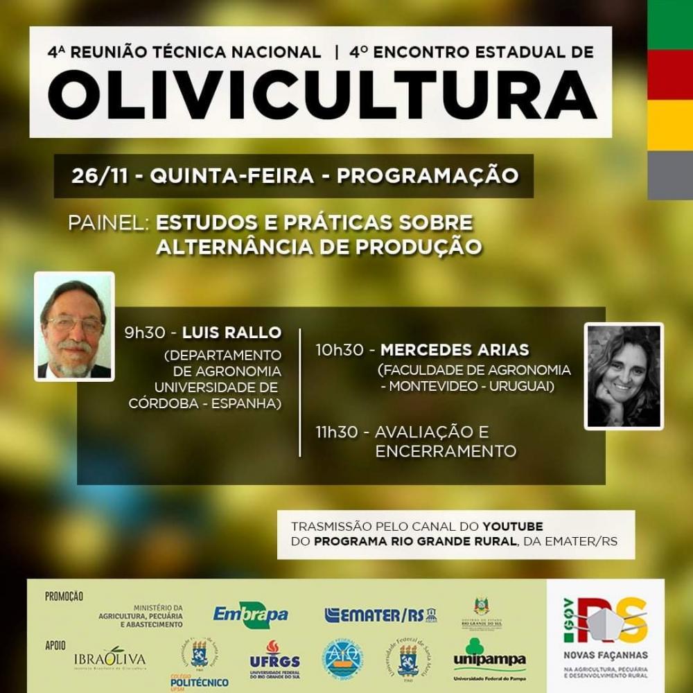 4ª Reunião Técnica Nacional e 4° Encontro Estadual de Olivicultura